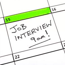 calendar with job interview reminder
