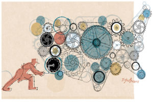 Donna Grethen graphic art of worker cranking collection of gears